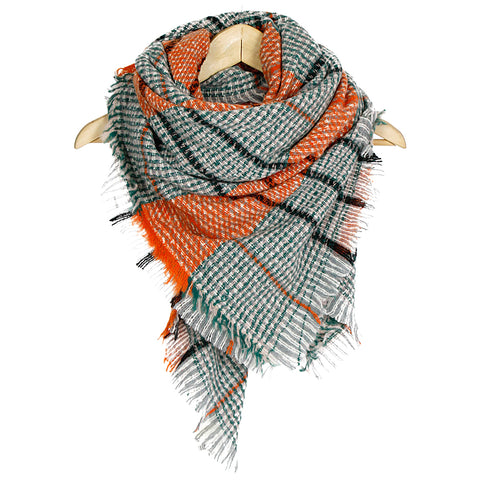 Orange Woven Plaid Patterned Blanket Scarf