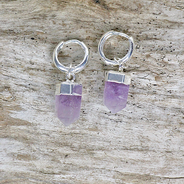 Amethyst Faceted Point Earrings