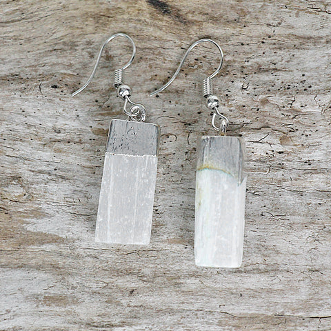 Raw Selenite Slice Earrings