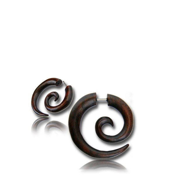 Sono Wood Spiral Mini Faux Gauge Earrings