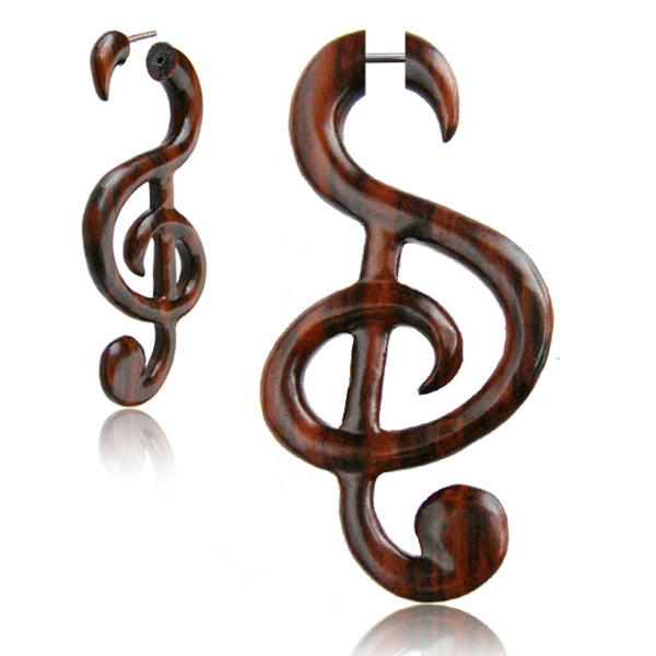 Music To My Ears Wood Faux Gauge Earrings