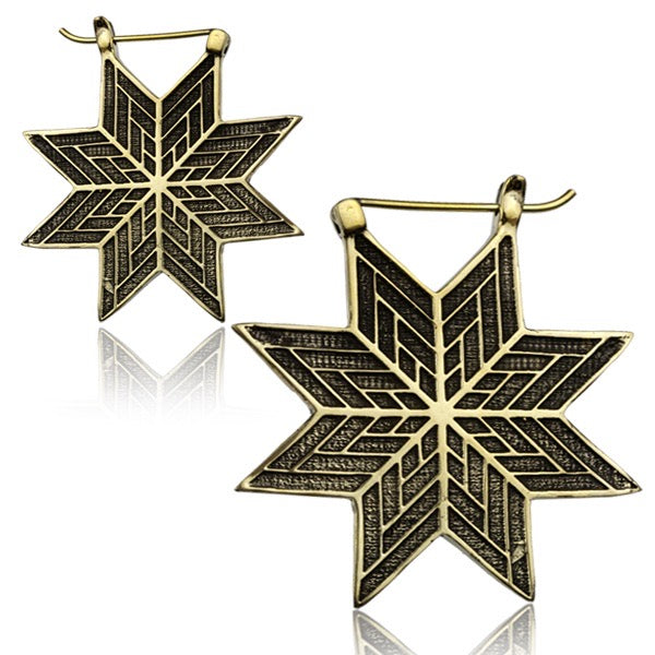 Tribal Star Brass Earrings