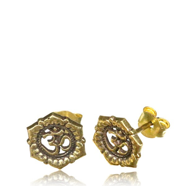 AUM Brass Ear Stud