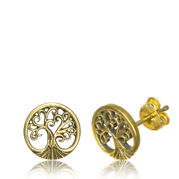 Tree of Life Brass Ear Stud