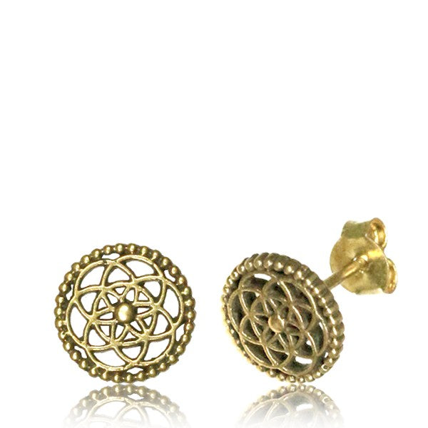Flower of Life Brass Ear Stud