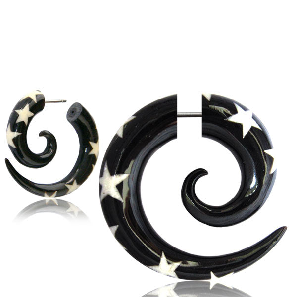 White Star Burst Faux Gauge Earrings