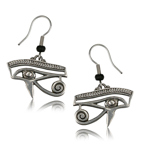 Eye of Horus White Brass Earrings