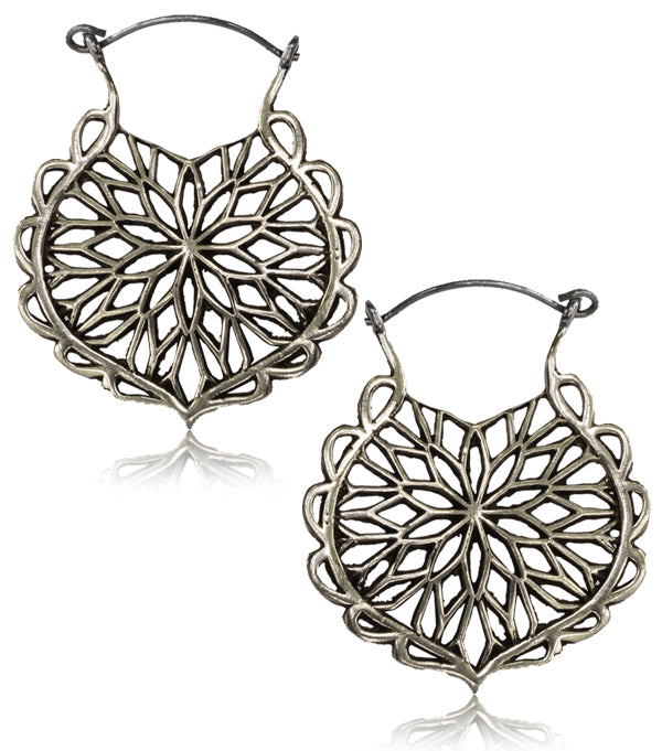 Starburst Flower White Brass Earrings