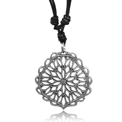 Starburst Flower White Brass Pendant Necklace