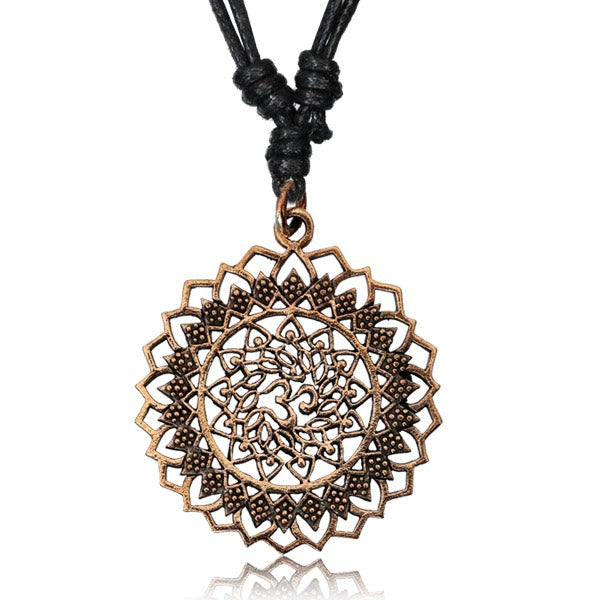 AUM Mandala Copper Pendant Necklace