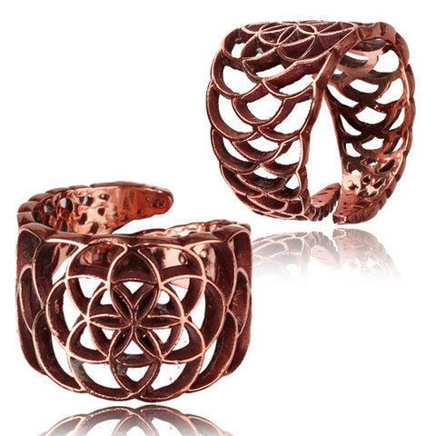 Star Flower Copper Adjustable Ring