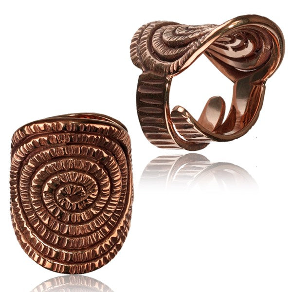 Large Energy Spiral Copper Adjustable Ring
