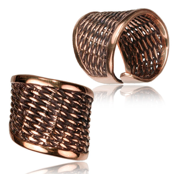 Basket Weave Adjustable Copper Ring