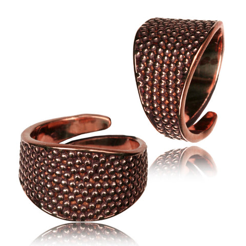 Dotted Spiral Adjustable Copper Ring