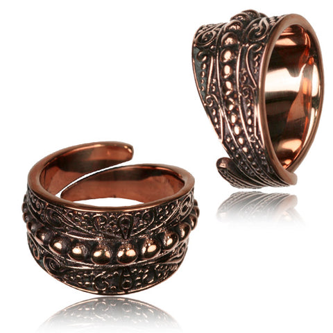 Henna Dots Copper Adjustable Ring