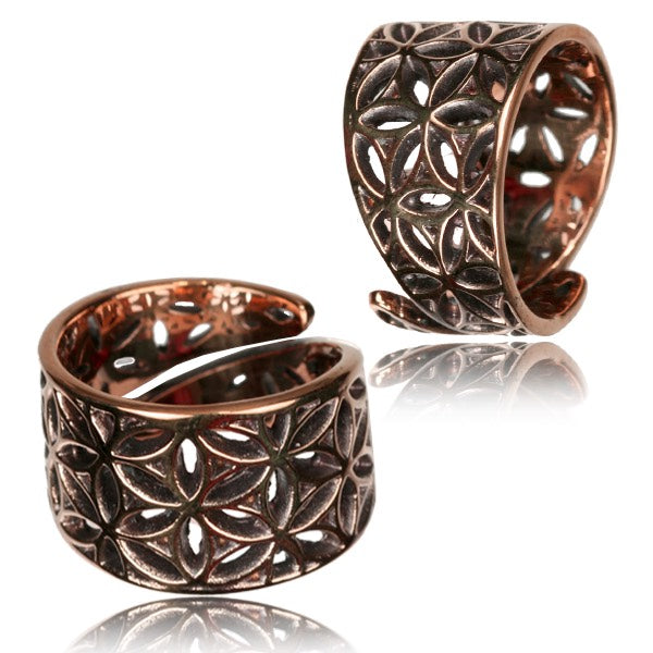 Flower of Life Copper Adjustable Ring