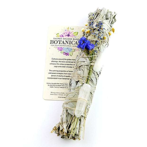 Sage, Wild Flowers and Clear Quartz Large Botanicals Sacred Smudge Bundle