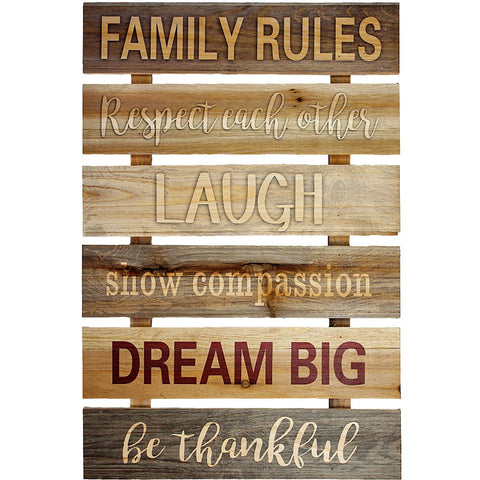 Family Rules Slat Wood Sign