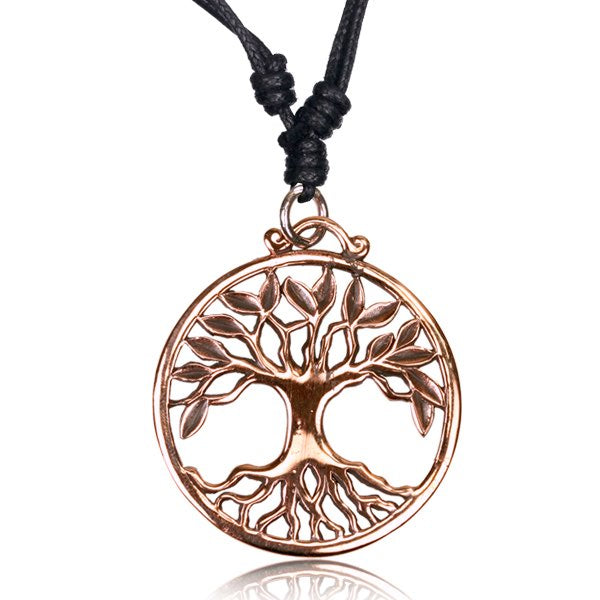 Rose Bronze Tree of Life Pendant Necklace