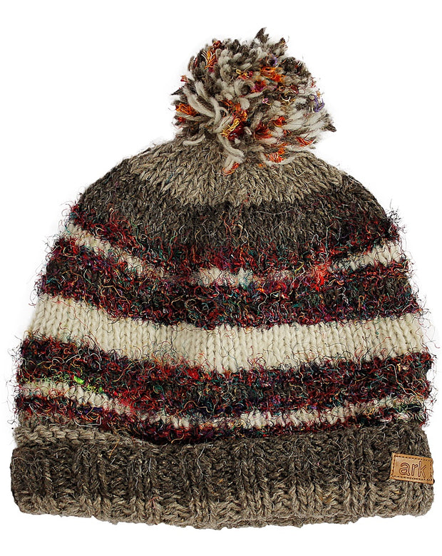 Natural Swool Stripe Pom Pom Hat