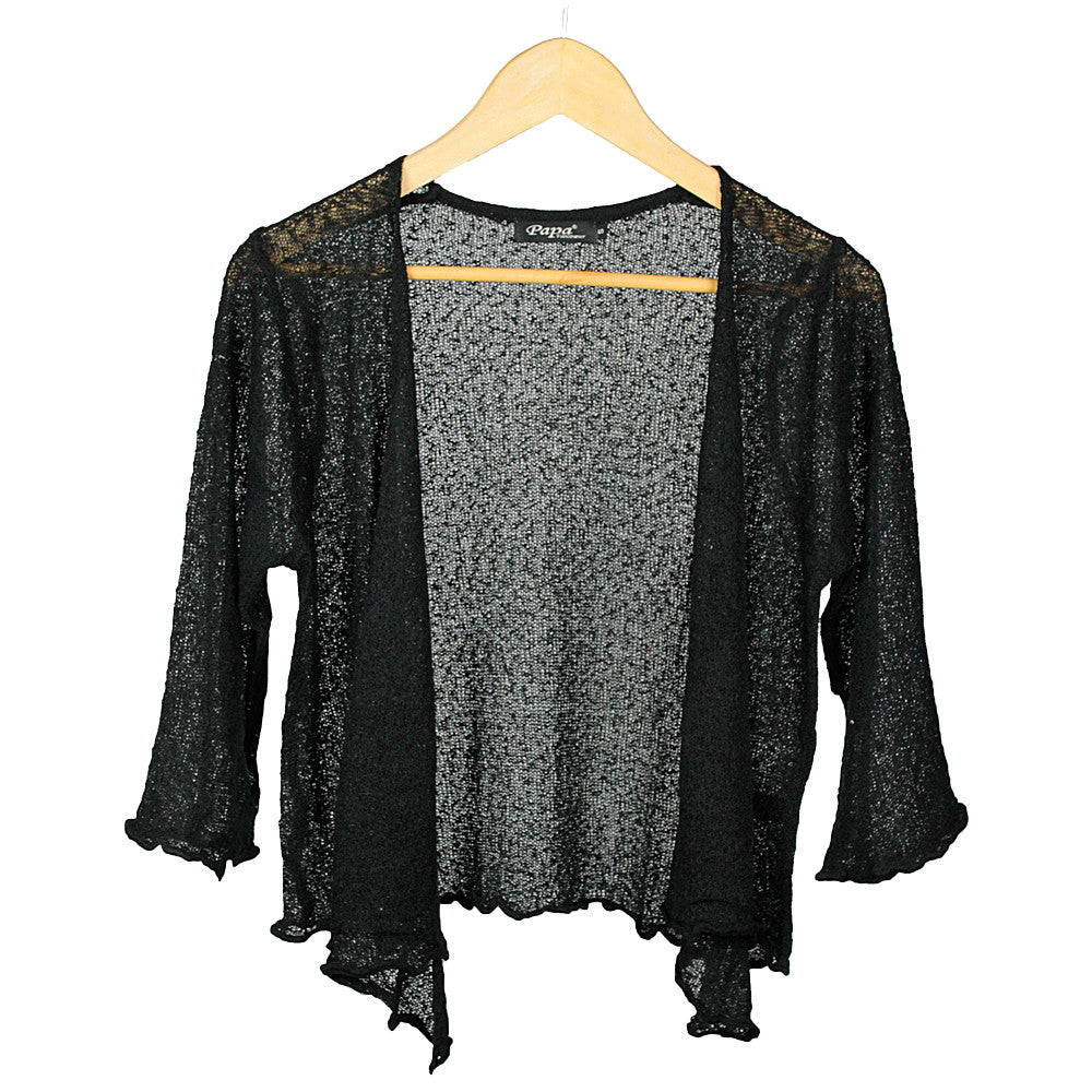 Black Open Tie Cardigan