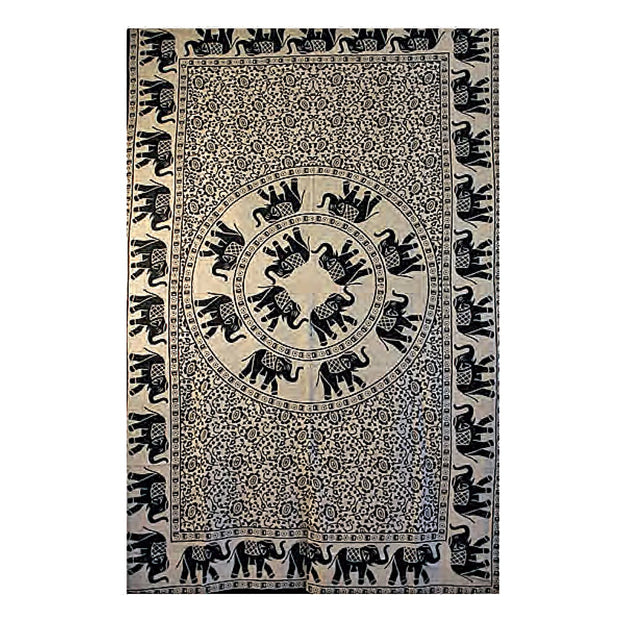Elephants Roaming Cotton Bed Sheet