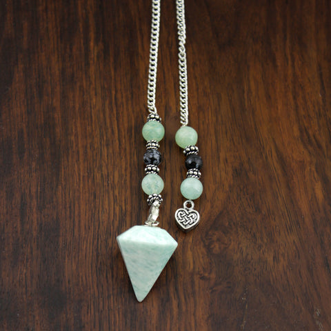 Amazonite & Heart Pendulum