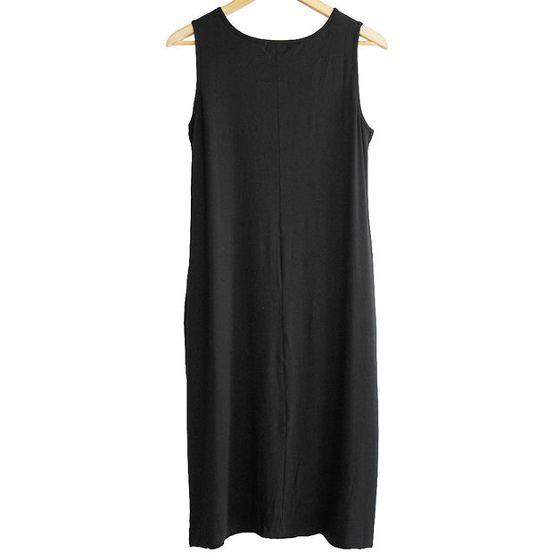 Black Bamboo Sheath Drape Dress