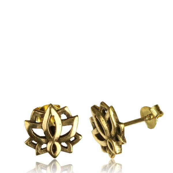 Lotus Flower Brass Ear Stud