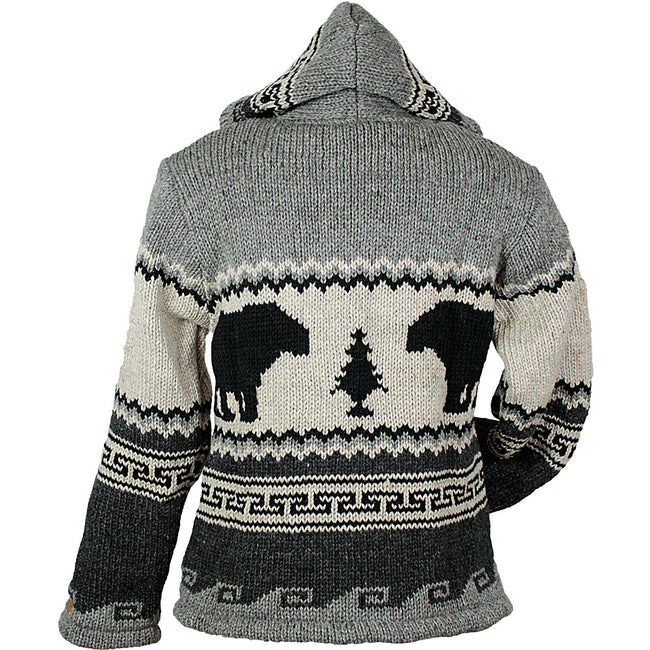 Charcoal Bear Paw Unisex Wool Sweater back