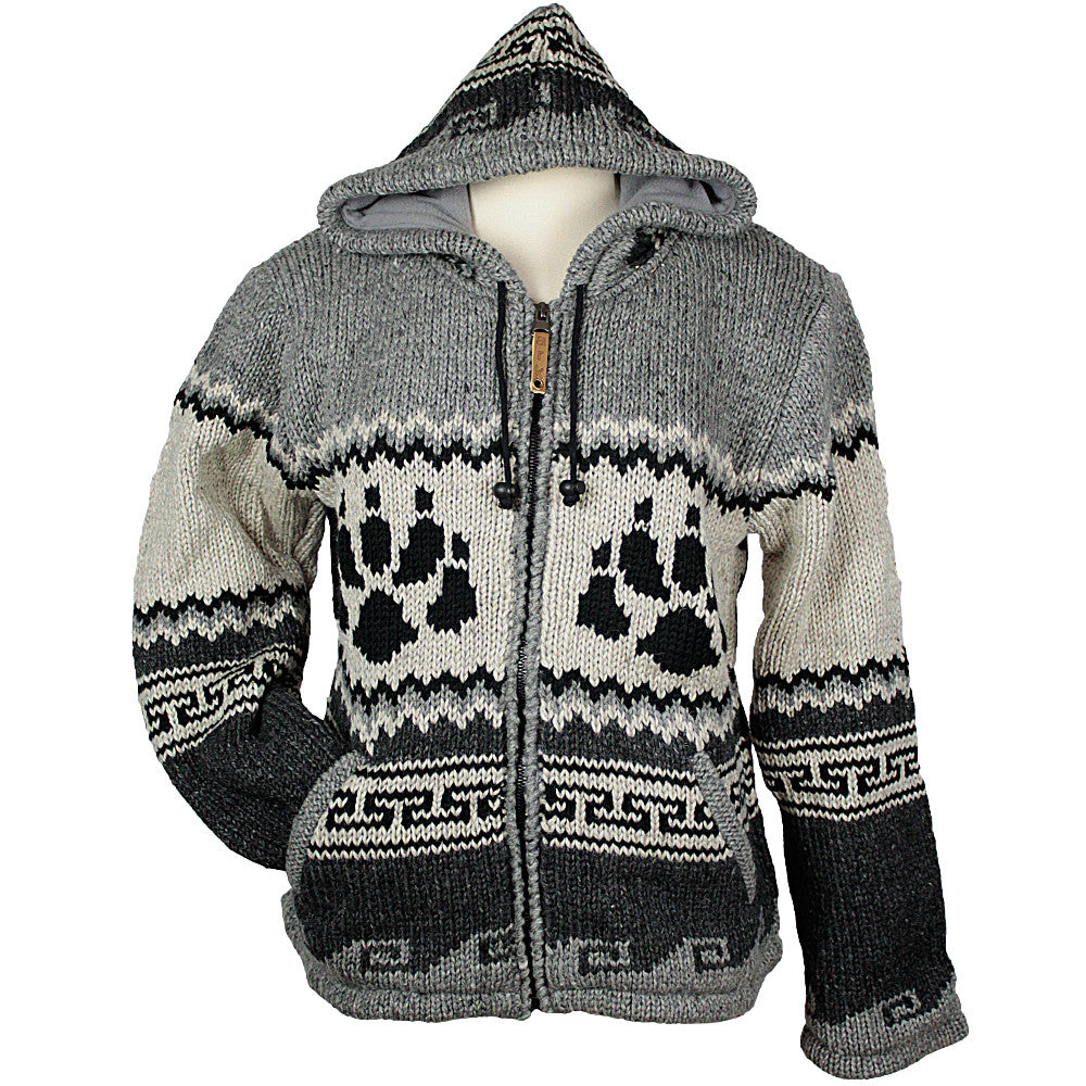 Charcoal Bear Paw Unisex Wool Sweater | Hilltribe Ontario