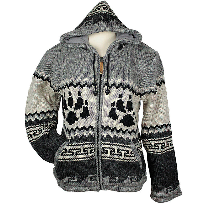 Charcoal Bear Paw Unisex Wool Sweater front