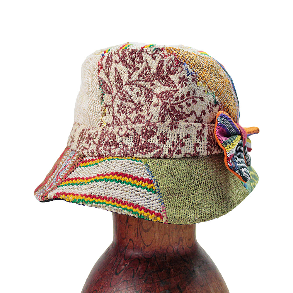 Patchy Hemp Bow & Bucket Hat