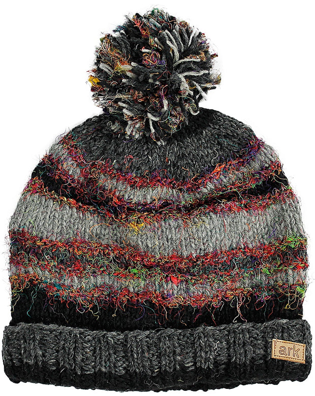 Black & Grey Swool Stripe Pom Pom Hat