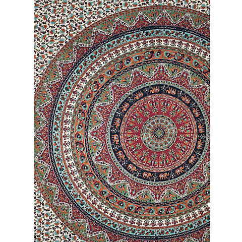 Tropical Elephant Mandala Indian Bed Sheet
