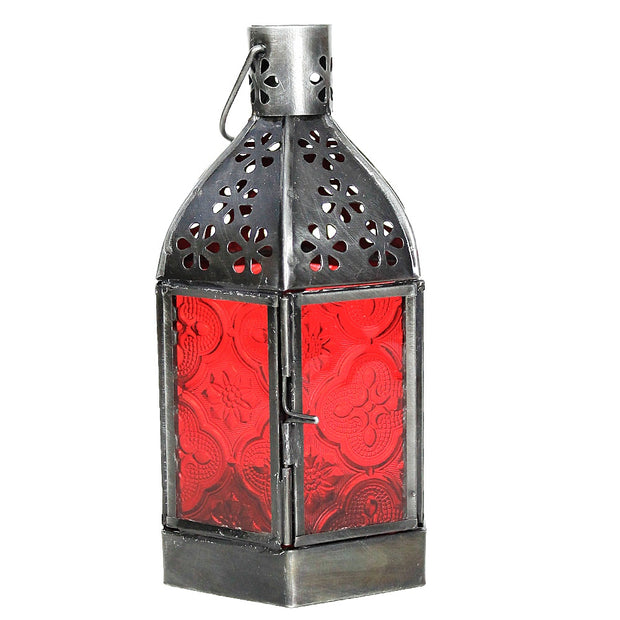 Red Moroccan Glass Lantern w/Chain