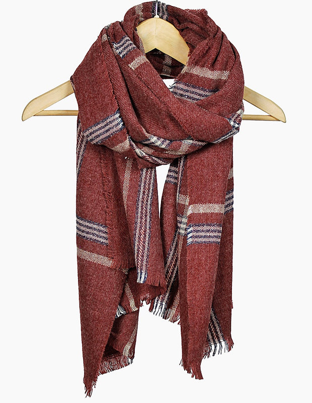 Burgundy Plush & Plaid Frayed Scarf
