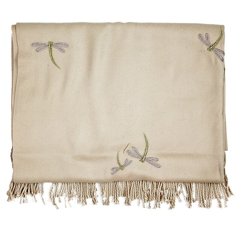 Taupe Dragonfly Embroidered Cashmere Scarf/Shawl