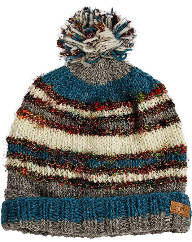 Teal & White Swool Stripe Pom Pom Hat
