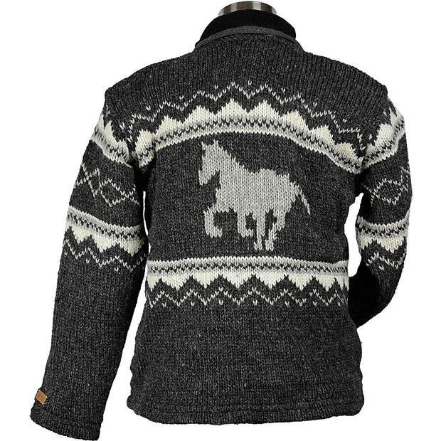 Charcoal Horse Unisex Wool Sweater  back
