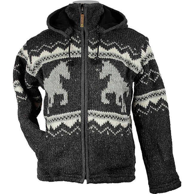 Charcoal Horse Unisex Wool Sweater front