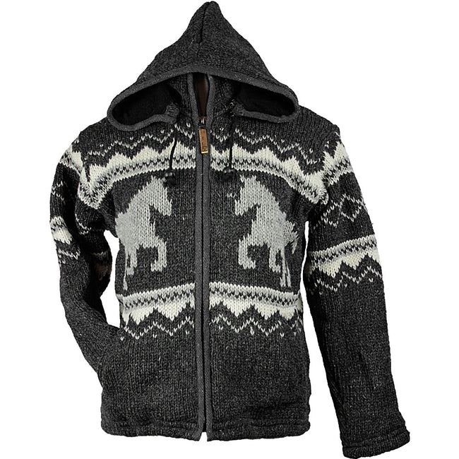 Charcoal Horse Unisex Wool Sweater front 2