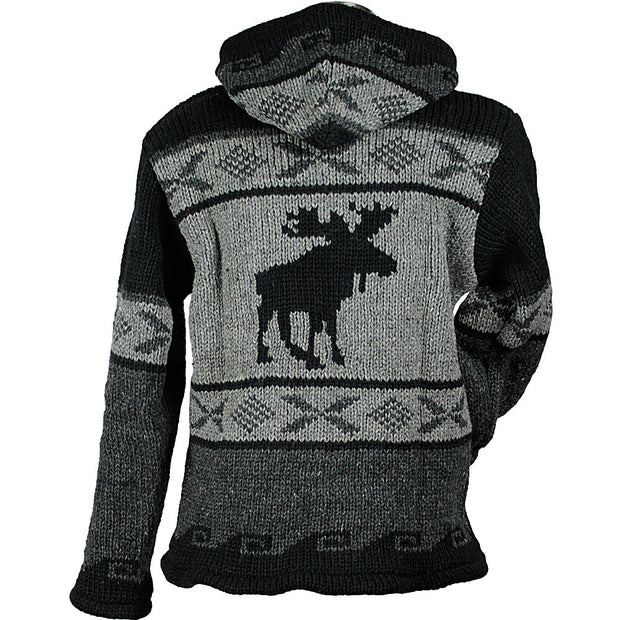 Charcoal Moose Unisex Wool Sweater back