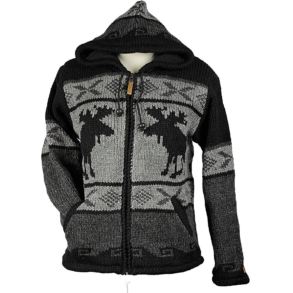 Charcoal Moose Unisex Wool Sweater front