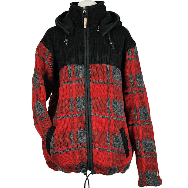 Red Checkmate Plaid Unisex Wool Sweater