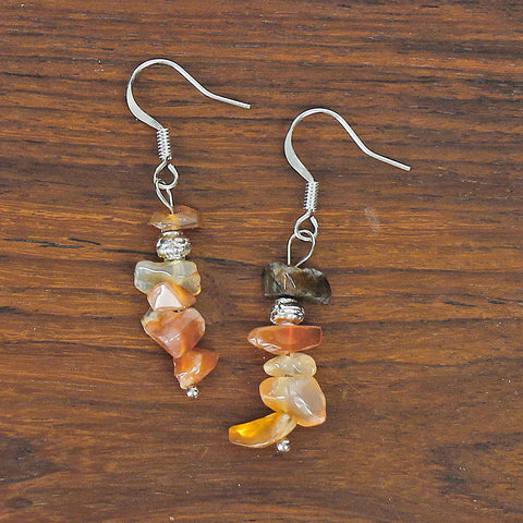 Carnelian Chip Stone Earrings