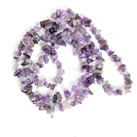 Peaceful Amethyst Chip Necklace 36""