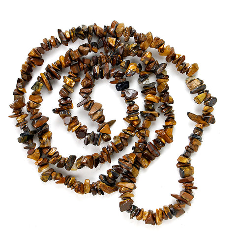 Confidence Tiger Eye Chip Necklace 36""