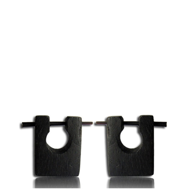Black Square Narra Wood Hoop & Stick Earrings