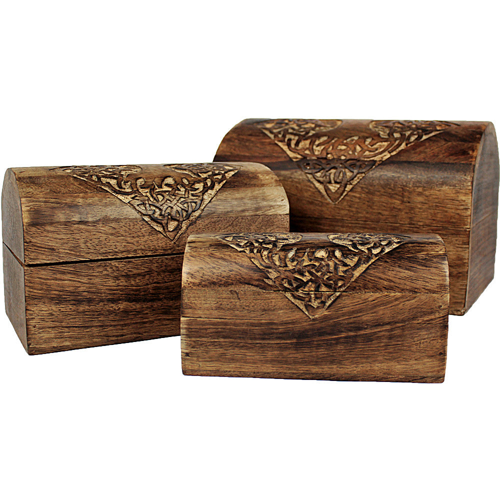 Celtic Tree Mango Wood Round Top Box